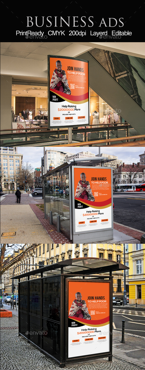 CharityEvent Bus Stop Banner Ad Template - Signage Print Templates