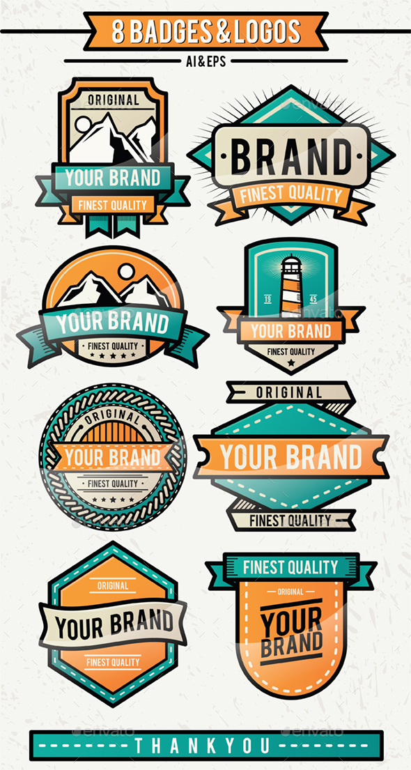 8 Badges & Logos - Badges & Stickers Web Elements