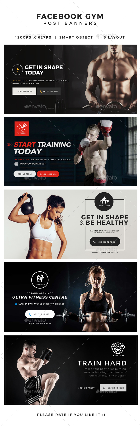 Gym & Fitness Facebook Post Banners - Miscellaneous Social Media