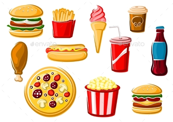 Fast Food And Beverage Icons - Food Objects