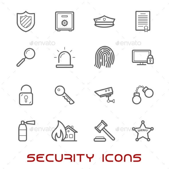 Security And Protection Thin Line Style Icons - Objects Icons