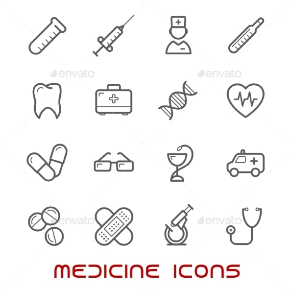 Medicine And Health Thin Line Icons Set - Miscellaneous Icons