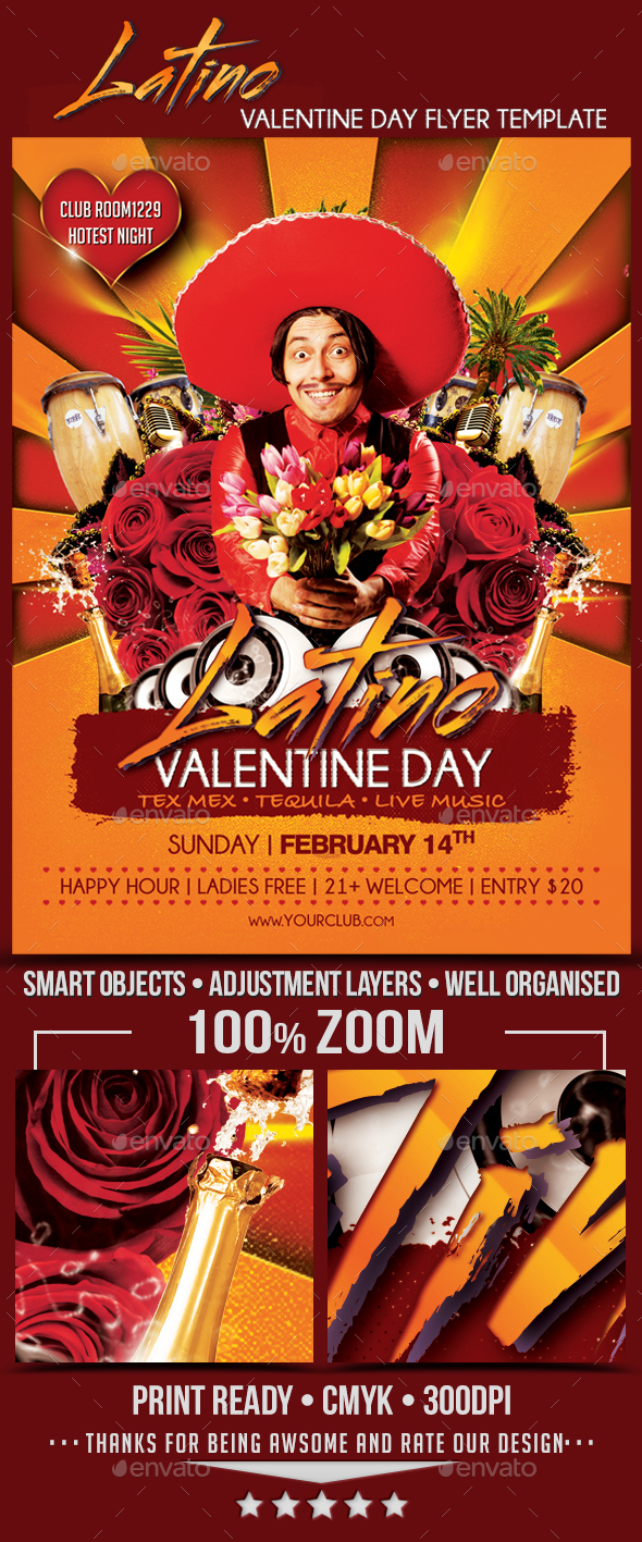 Valentine Day Latino Party Flyer Template - Holidays Events