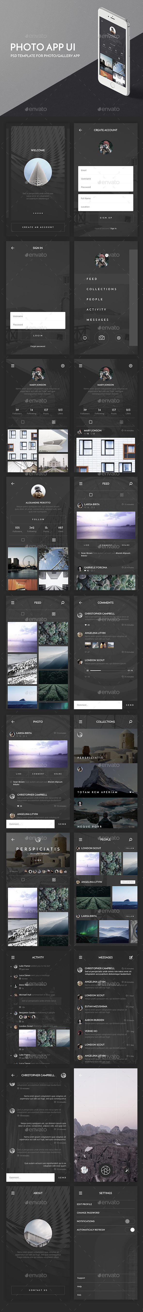 Photo App UI Kit - User Interfaces Web Elements