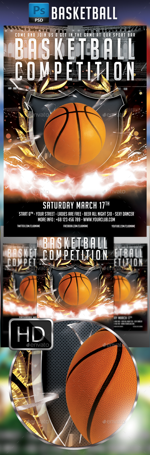 BasketBall Flyer Template #4 - Sports Events