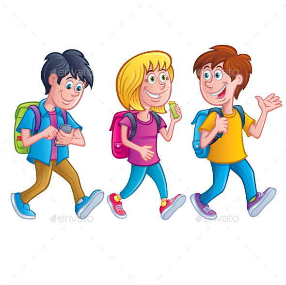 Kids Walking with Backpacks - People Characters