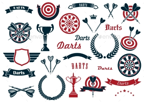 Darts Sport Game Design Elements And Items - Sports/Activity Conceptual
