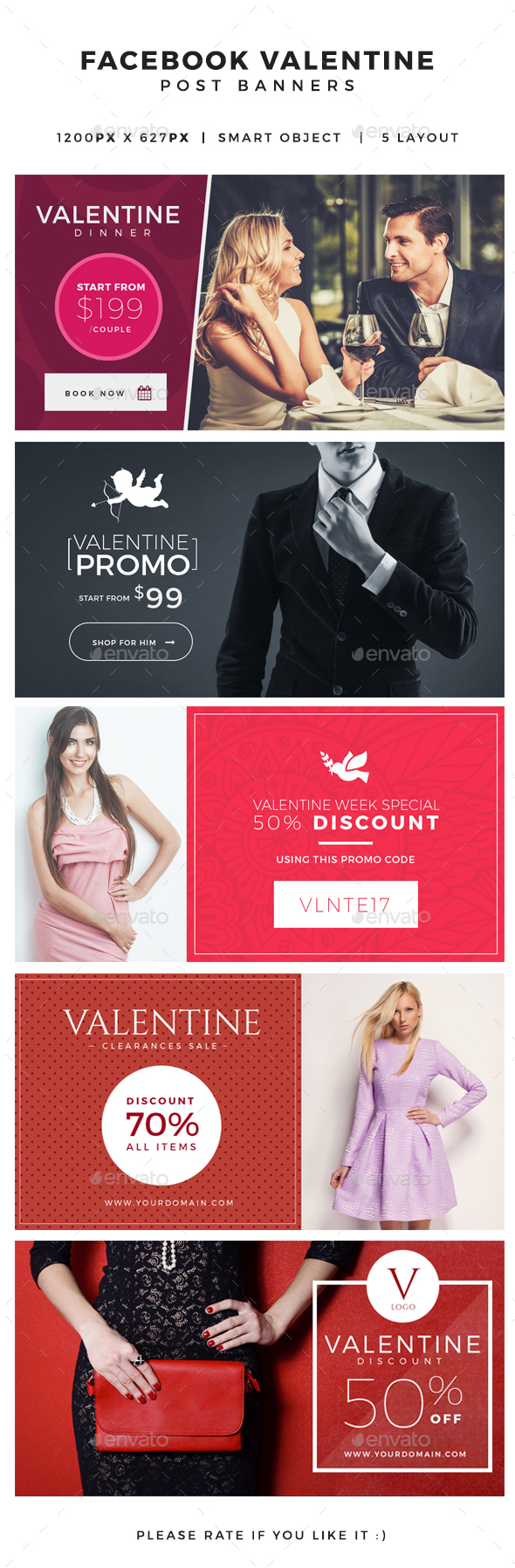 Valentine Facebook Post Banners - Miscellaneous Social Media