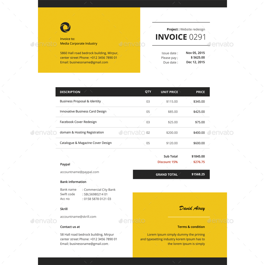 invoice template by bddesignhub graphicriver