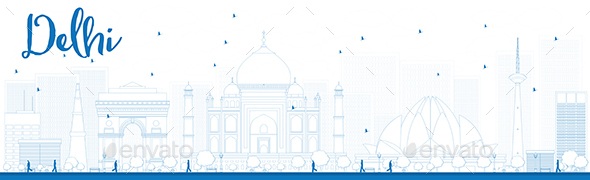 Outline Delhi Skyline with Blue Landmarks - Buildings Objects