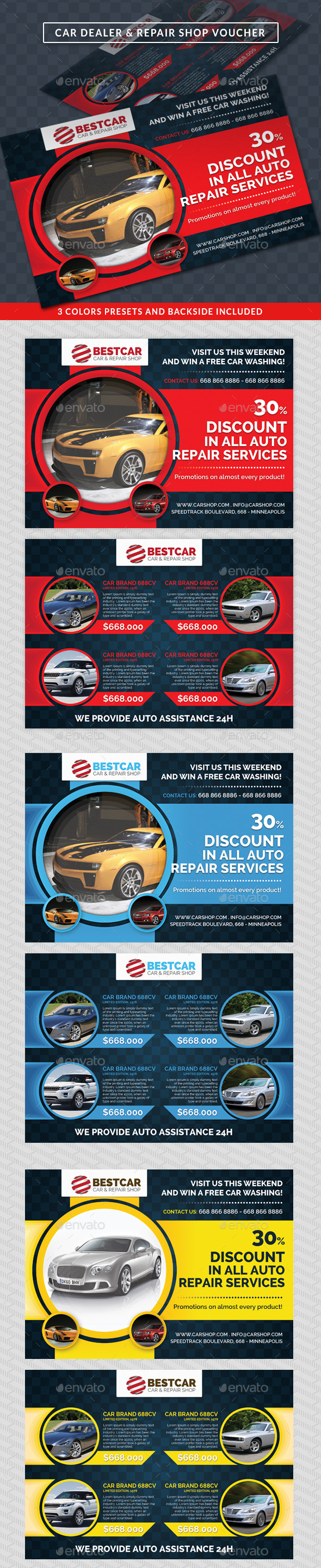 Car Dealer & Auto Services Commerce Discount Voucher - Cards & Invites Print Templates
