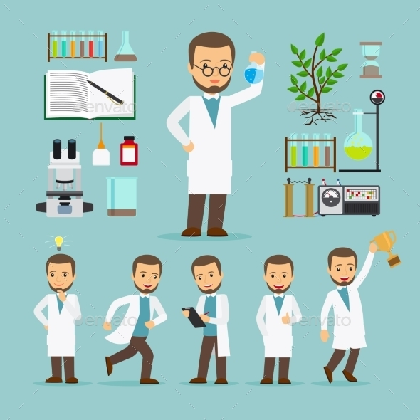 Scientist With Laboratory Equipment Icons - People Characters