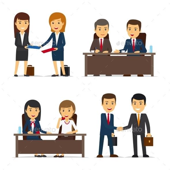 Business People Meeting - People Characters