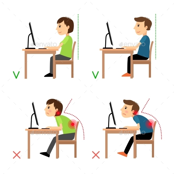 Incorrect And Correct Back Sitting Position - Health/Medicine Conceptual