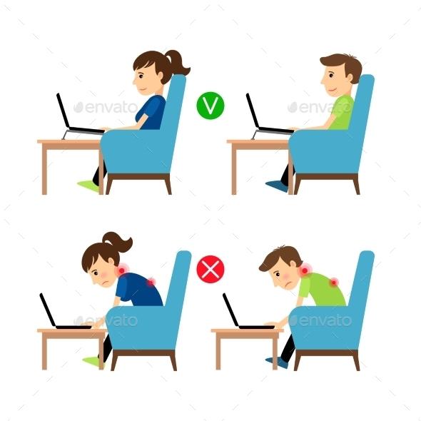 Incorrect And Correct Laptop Use Position - Health/Medicine Conceptual