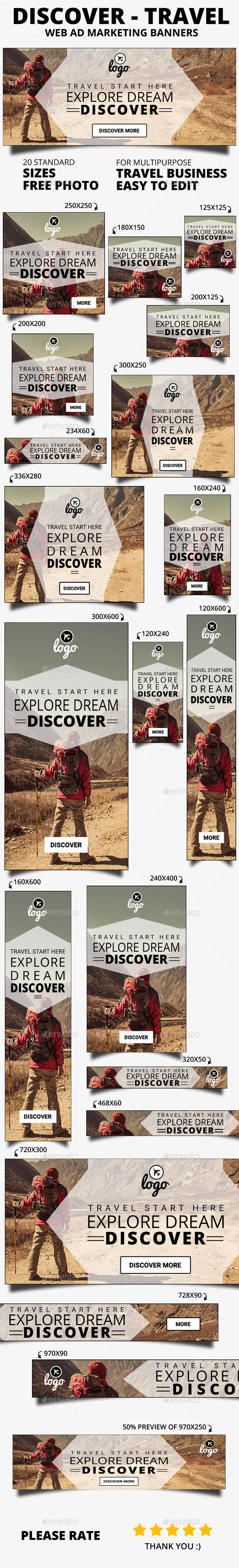 Discover travel web banner - Banners & Ads Web Elements