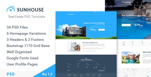 SunHouse – Multiconcept Real Estate PSD Template
