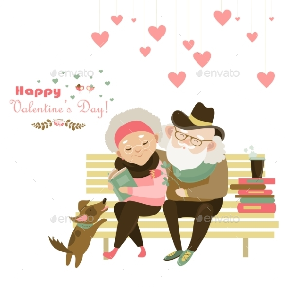 Old Couple In Love Sitting On Bench - Valentines Seasons/Holidays