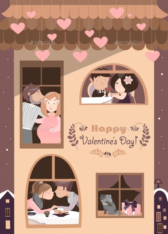 House Full Of Couples In Love - Valentines Seasons/Holidays