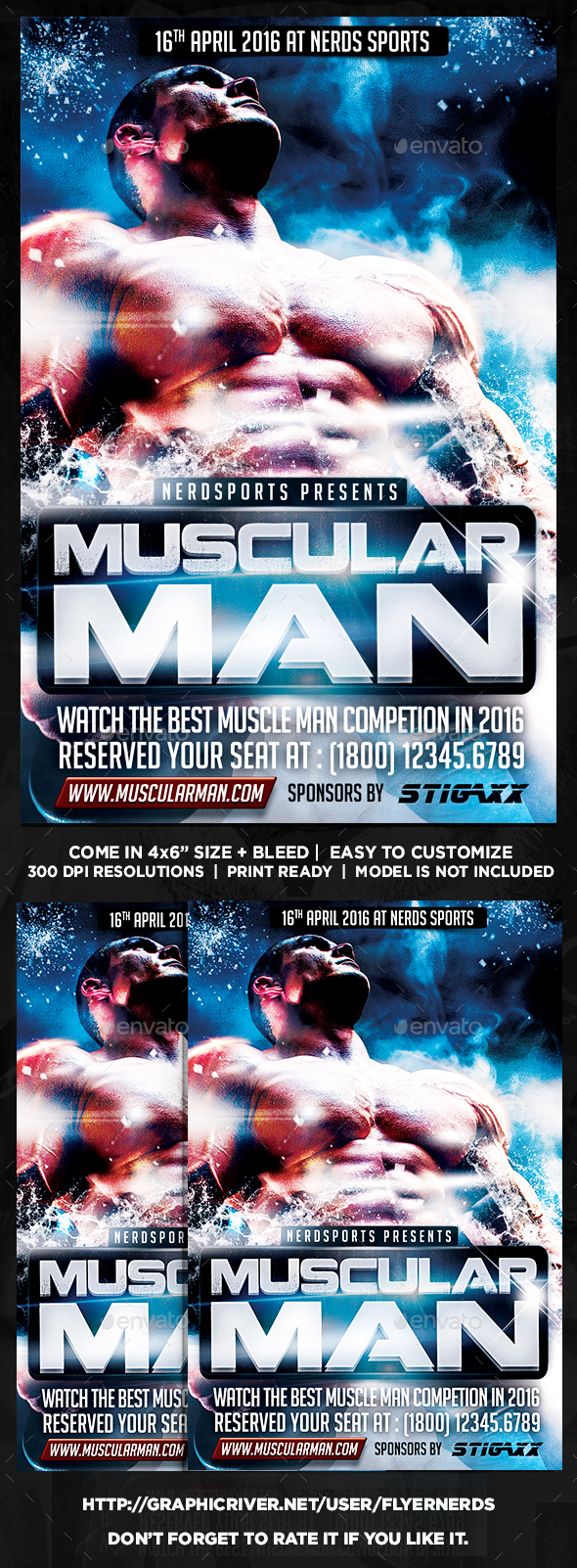 Muscular Man Sports Flyer - Sports Events