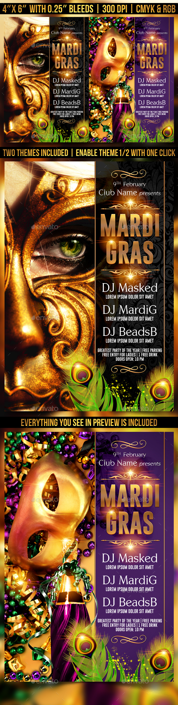 Mardi Gras or Masquerade Flyer Template - Clubs & Parties Events