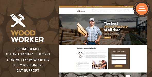 WoodWorker – Carpentry HTML Theme