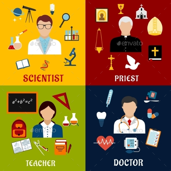 Scientist, Teacher, Doctor And Priest Professions - Miscellaneous Vectors