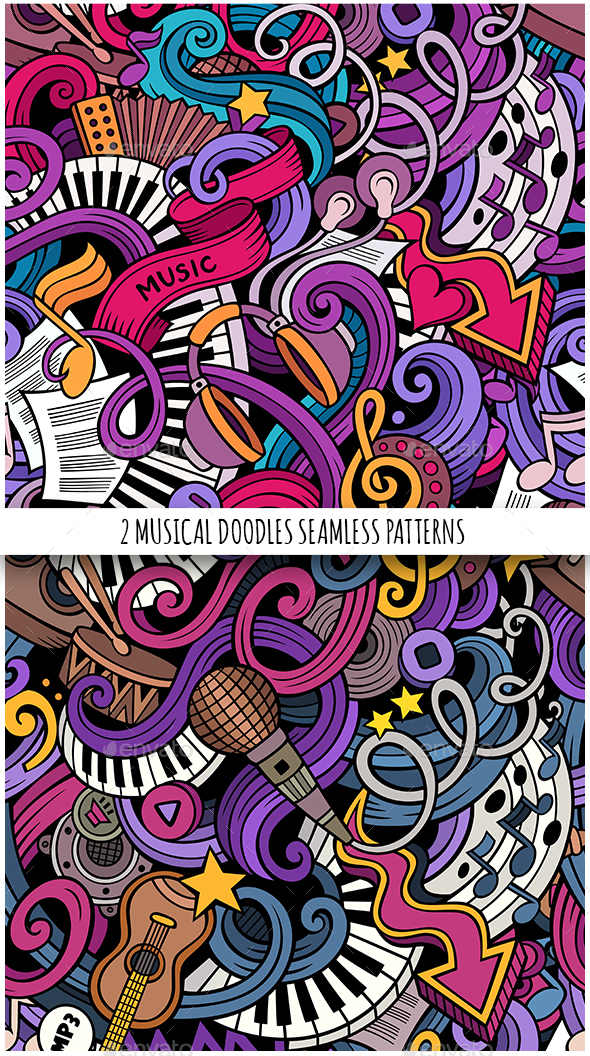 2 Doodles Music Seamless Pattern - Media Technology
