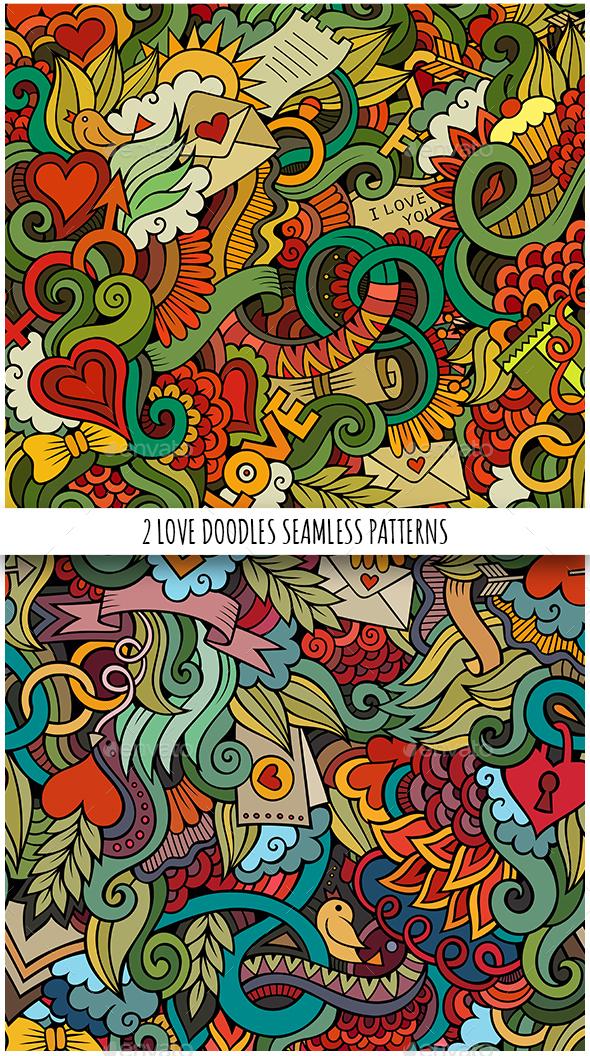 2 Love Doodles Seamless Pattern - Valentines Seasons/Holidays