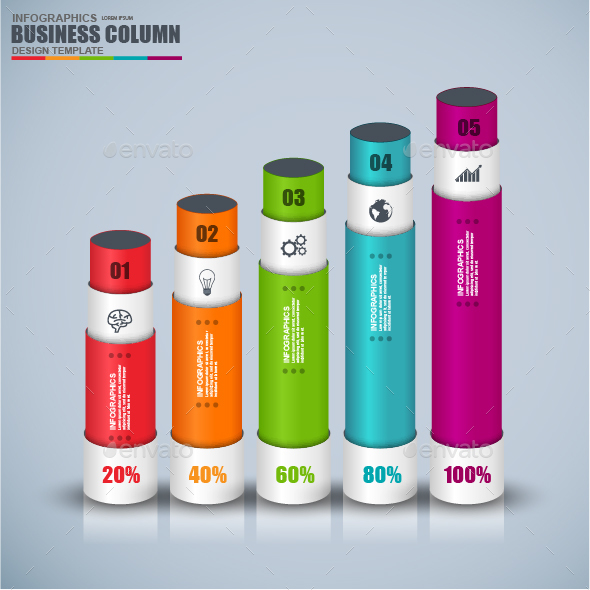 Abstract 3D Business Bar Infographic Elements - Infographics