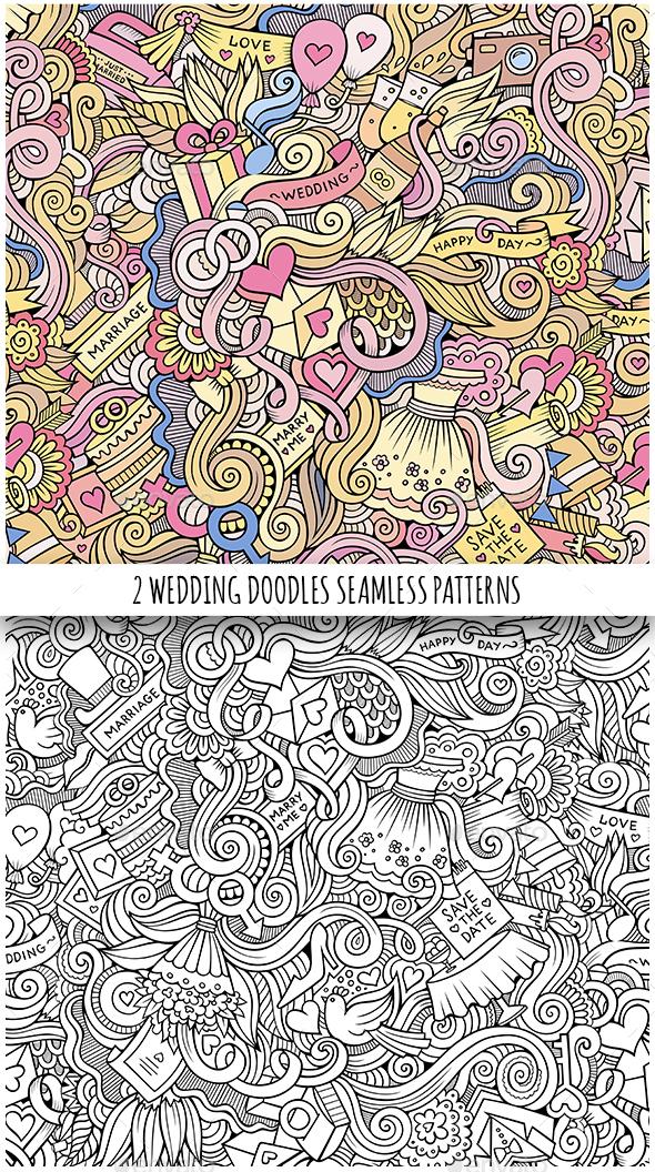 2 Wedding Doodles Seamless Patterns - Weddings Seasons/Holidays