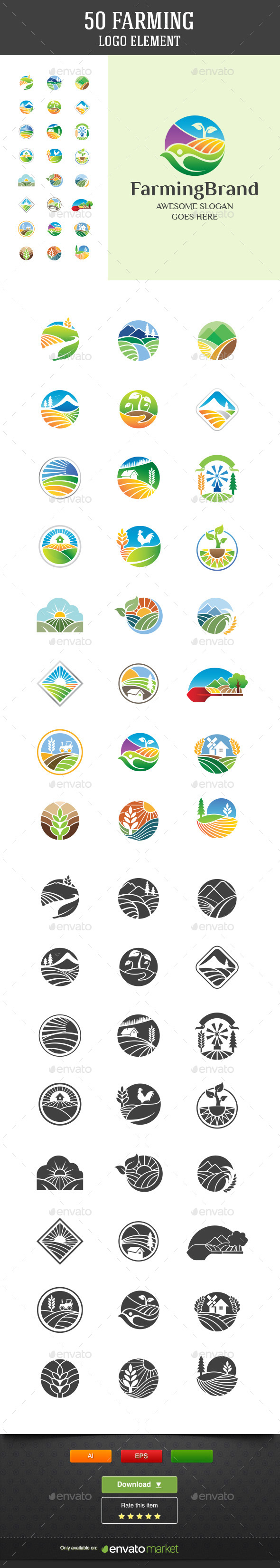 50 Farming Vector Logo Elements - Nature Conceptual