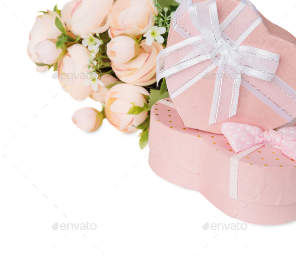 Festive composition with flowers and gift boxes - Stock Photo - Images