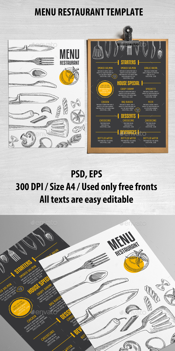 Cafe and restaurant template by barcelonadesignshop for Cafe menu design template free download