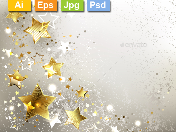 Gray Background with Gold Stars - Backgrounds Decorative