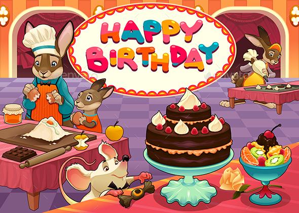 Happy Birthday Card with Funny Pastry Chef Animals - Birthdays Seasons/Holidays