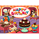 Happy Birthday Card with Funny Pastry Chef Animals - GraphicRiver Item for Sale