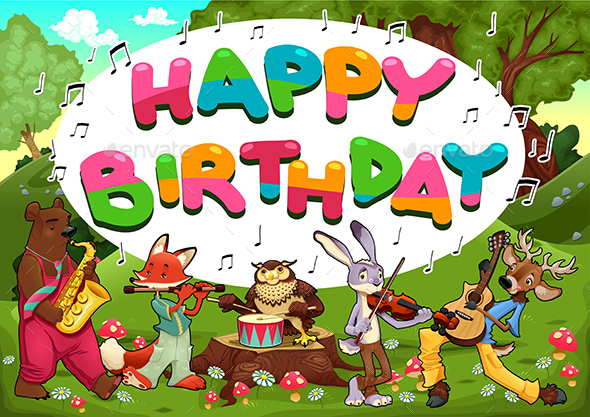 Happy Birthday Card with Funny Musician Animals - Birthdays Seasons/Holidays