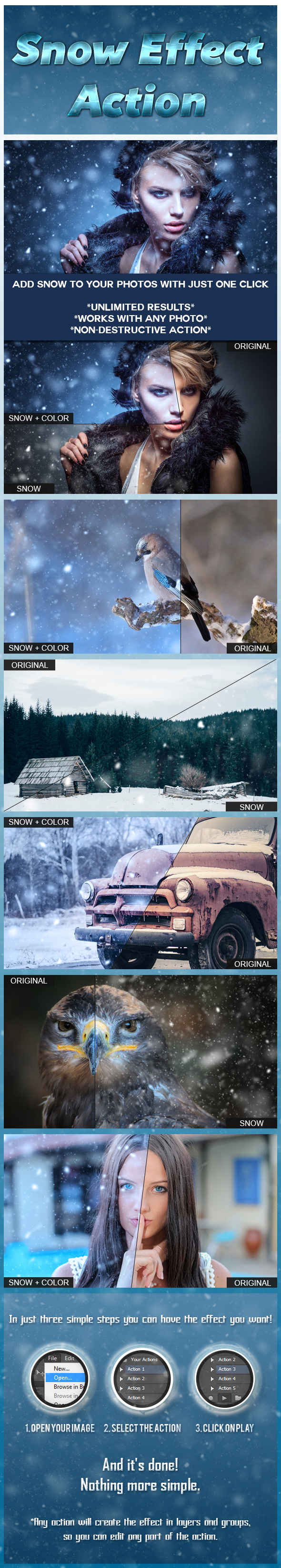Snow Effect Action - Photo Effects Actions