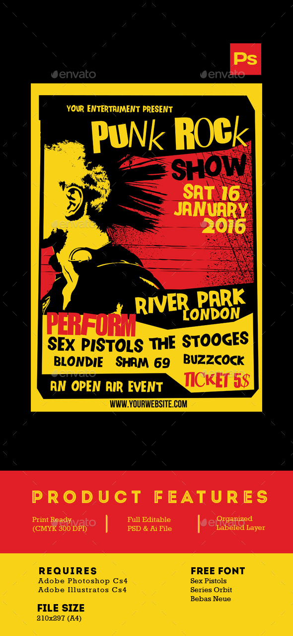 Punk Rock Show flyer tamplate - Events Flyers
