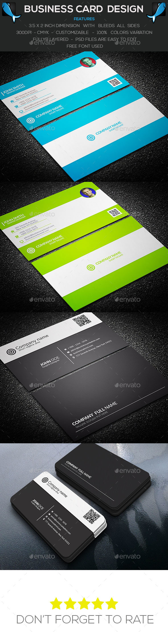 Clean Business Card Bundle - Corporate Business Cards