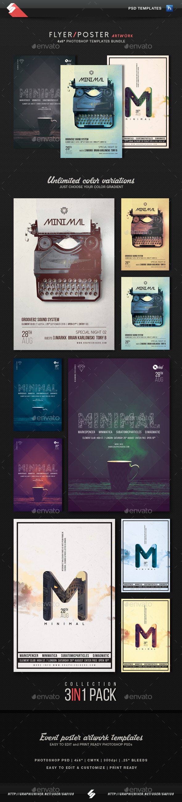 Minimal - Party Flyer Templates Bundle - Clubs & Parties Events