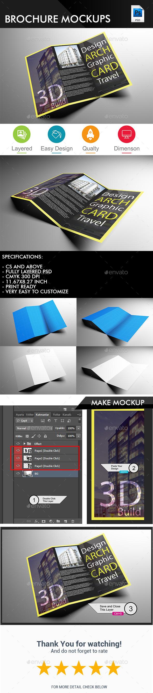 Tri Fold Brochure MockUps - Brochure MockUps - Brochures Print