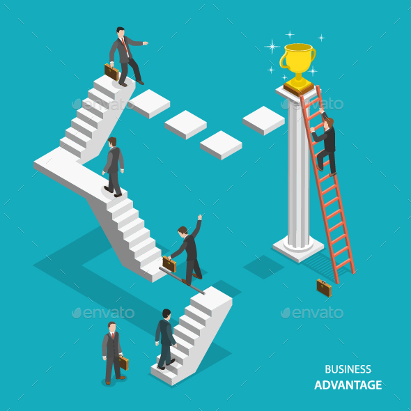 Business Advantage Isometric Flat Vector Concept - Concepts Business