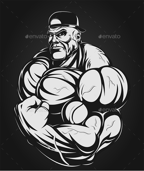 Bodybuilder Showing Biceps - Sports/Activity Conceptual