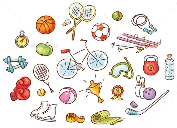 Set of Colorful Cartoon Sport Things - Sports/Activity Conceptual