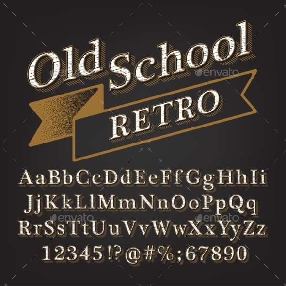 Old School Retro Alphabet - Decorative Symbols Decorative