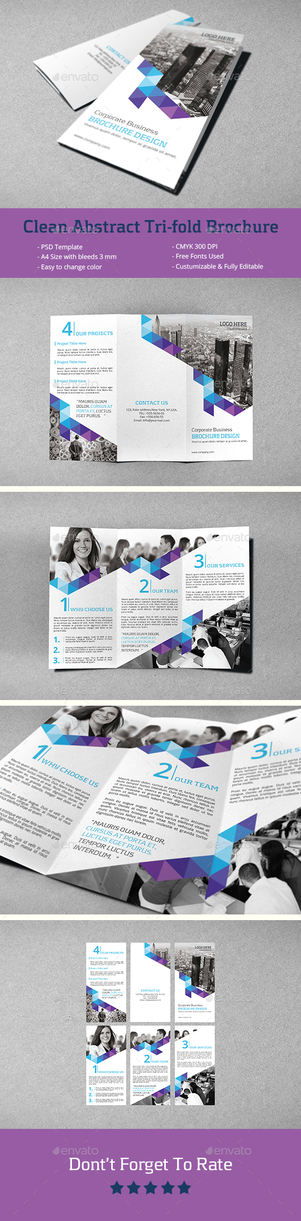 Clean Abstract Tri-fold Brochure  - Corporate Brochures
