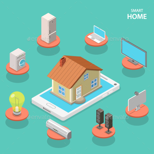 Smart House Isometric Flat Concept - Computers Technology