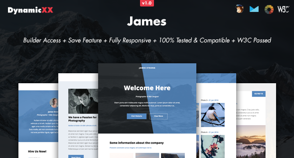 James – Responsive Email + Online Template Builder